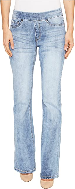 Tribal - Pull-On Denim Flare Pants in Faded Blue