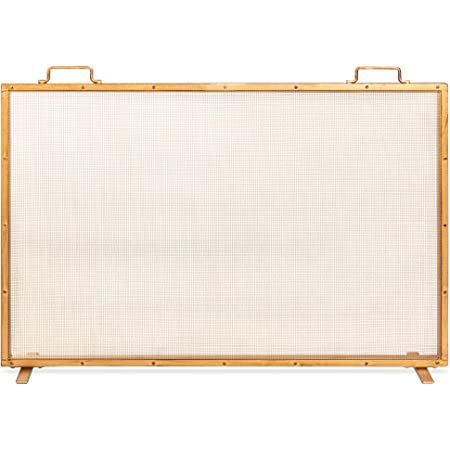 Best Choice Products 38x27in Single Panel Fireplace Screen Handcrafted Steel Mesh Spark Guard for Living Room, Bedroom Décor w/Handles - Antique Gold