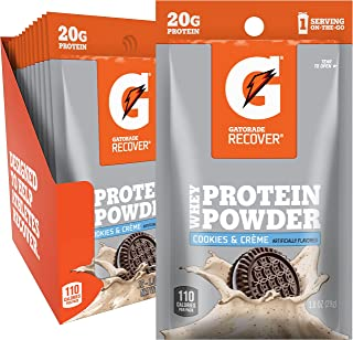 Gatorade Whey Protein Powder, Cookies & Creme, 20 grams of protein per serving, 1.0 Oz, Pack of 12