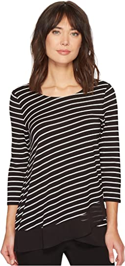 Vince Camuto - 3/4 Sleeve Asymmetrical Chiffon Hem Step Stripe Top