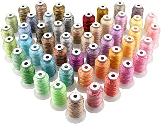 New brothread 50 Colors Variegated Polyester Embroidery Machine Thread Kit 500M (550Y) Each Spool for Brother Janome Babylock Singer Pfaff Bernina Husqvaran Embroidery and Sewing Machines