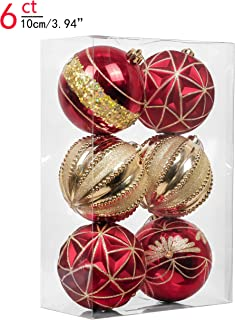 Valery Madelyn 6ct 100mm Luxury Red and Gold Shatterproof Christmas Ball Ornaments Decoration,Themed with Tree Skirt(Not Included)