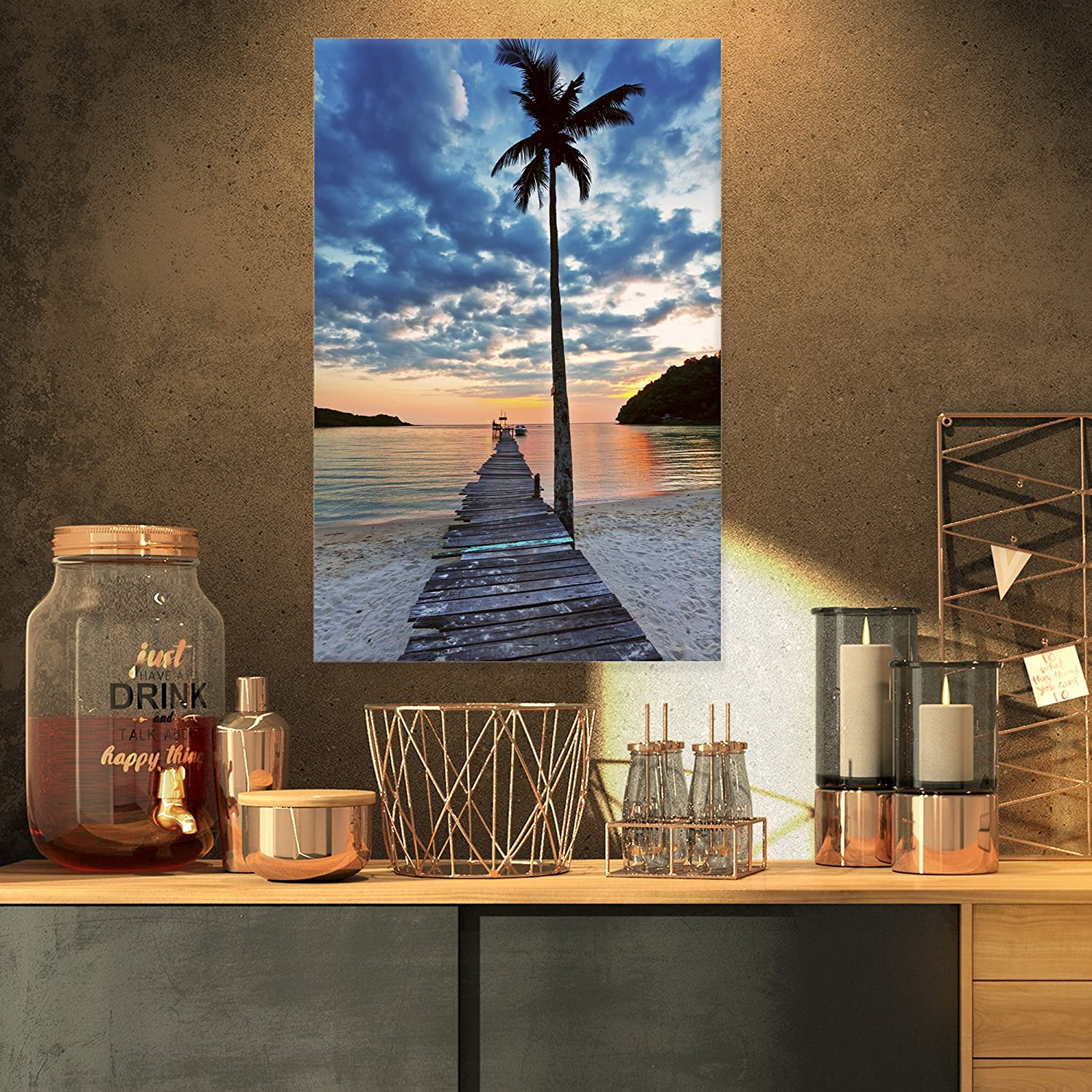Designart PT8959-16-32 Wooden Pier and Palm Tree-Seashore Photo Canvas Art Print-16x32, 16x32 bluee