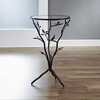 FirsTime & Co. BTGBRD Aged Bronze Bird and Branches Tripod Side Glass Tabletop Accent Table, 24