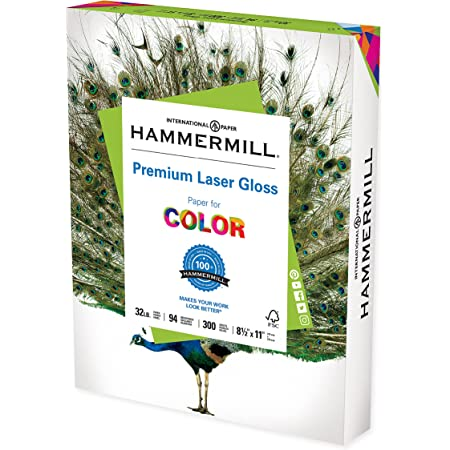 Hammermill Glossy Paper, Laser Gloss Copy Paper, 8.5 x 11 - 1 Pack (300 Sheets) - 94 Bright, Made in the USA Glossy Printer Paper, 163110R