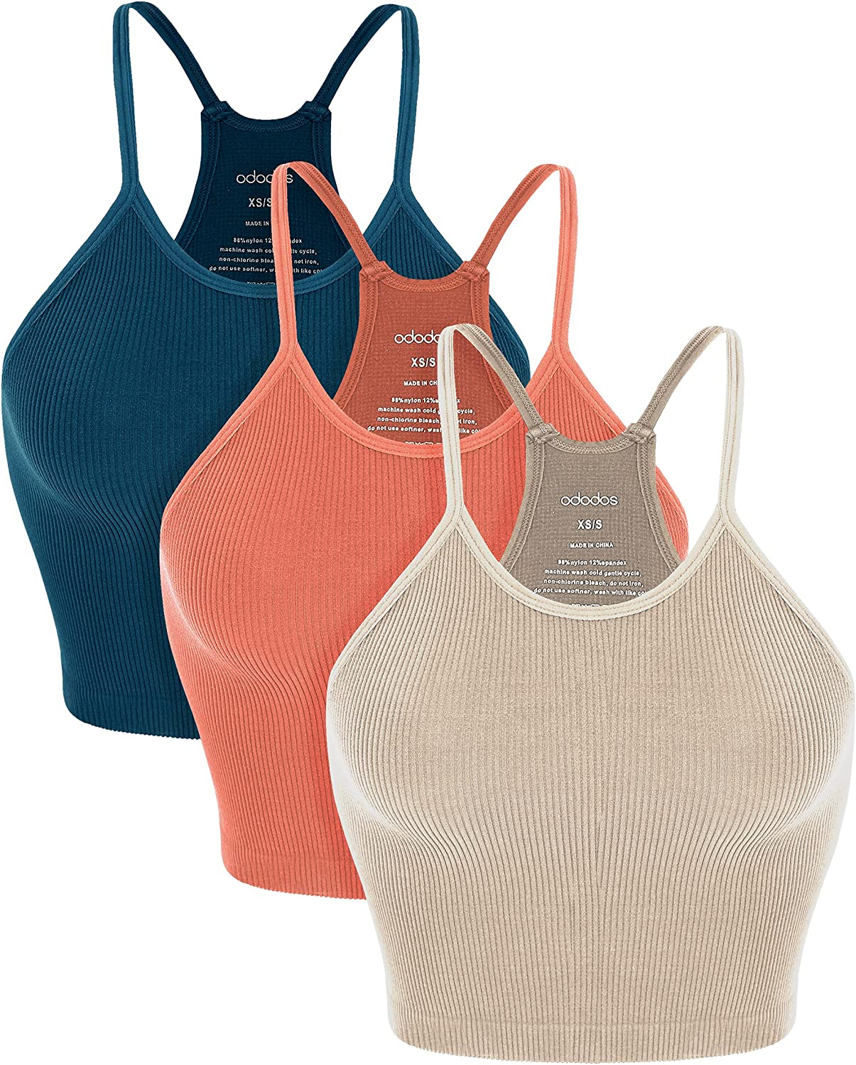 ODODOS Women's Crop 3-Pack Washed Seamless Rib-Knit Camisole Crop Tank Top