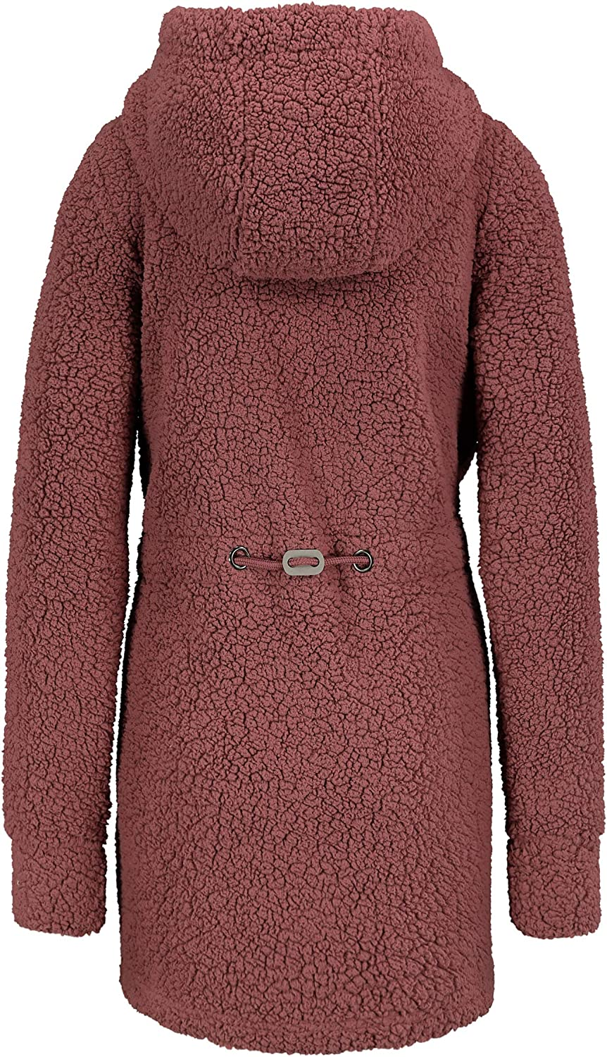 Sublevel Warmer Damen Teddy Fleece Mantel Jacke mit Kapuze Dark-rose