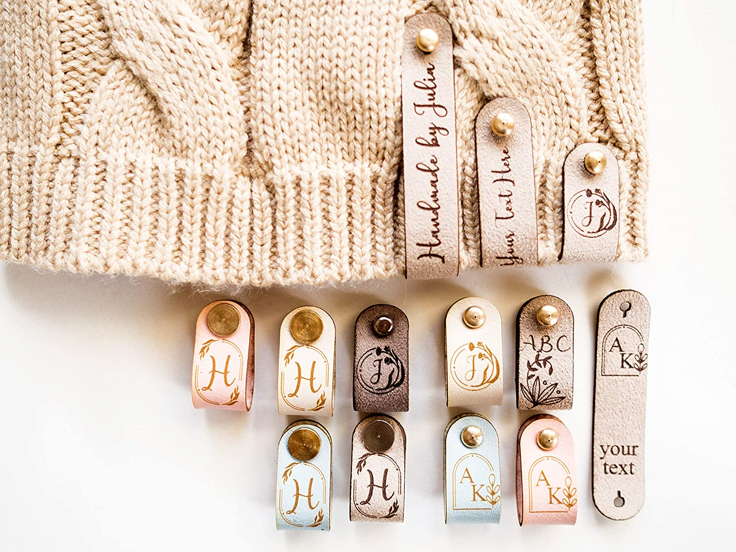 Personalized Faux Leather Labels for with HandKnit Items Topics on TV Rivets Fashion
