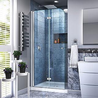 DreamLine Aqua Fold 32 in. D x 32 in. W x 74 3/4 in. H Frameless Bi-Fold Shower Door in Chrome with White Acrylic Base Ki...