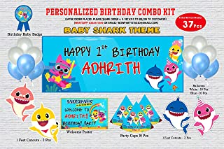 WoW Party Studio Personalized Baby Shark Theme Birthday Party Supplies with Birthday Boy/Girl Name - Combo Kit (37 Pcs)