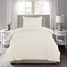 HUESLAND by Ahmedabad Cotton 220 TC Striped Cotton Single Fitted Bedsheet with Pillow Cover, Ivory