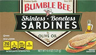 BUMBLE BEE Boneless and Skinless Sardines in Olive Oil, Ready to Eat Sardines, High Protein Food, Keto Food, Gluten Free Food, High Protein Snack, Canned Food, Bulk Sardines, 4.4 Ounce (Pack of 12)