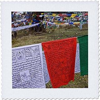 3dRose QS_70295_1 Bhutan, Dochu La Prayer Flags on The Hillside Forest-AS04 BTH0016-Brenda Tharp-Quilt Square, 10 by 10-Inch