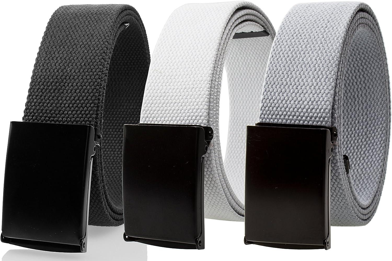 Gelante Fully Adjustable Canvas Web Belt with Black Flip Top Buckle 50'' Long