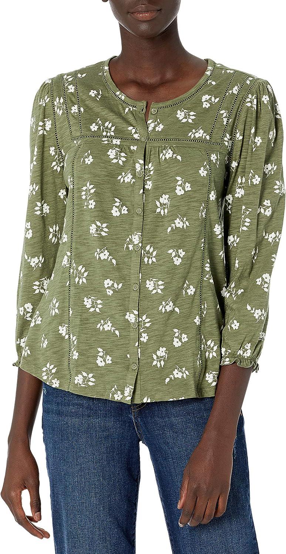 Lucky Brand Women's Long Sleeve V-Neck Wrap Waist Printed Blouse