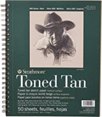 """Strathmore 412-9 Tan Drawing 400 Series Toned Sketch Pad, 9""""x12"""", 50 Count"""