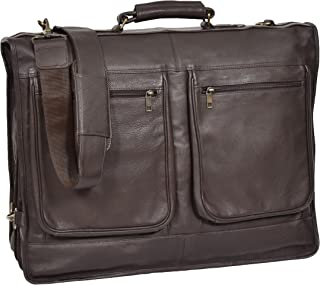 Real Leather Suit Dress Carrier Travel Weekend Bag CANICO Brown