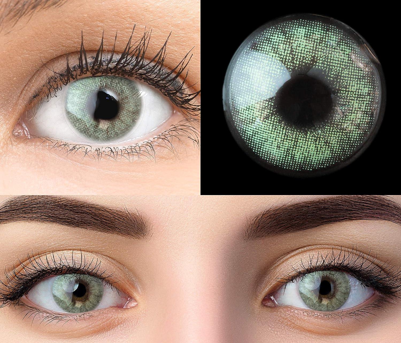 GLAMLENS lentillas de colores verdes Keira Green + contenedor. 1 par (2 piezas) - 90 Días - Sin Graduación - 0.00 dioptrías - blandos - Lentes de contacto verde de hidrogel de silicona