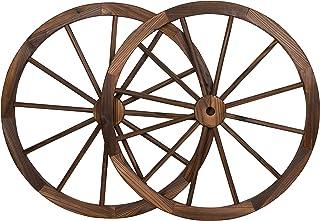 "Trademark Innovations Vintage Wood Decorative Garden Wagon Wheel with Steel Rim-31.5"" Diameter (Set of 2), 2 Count"