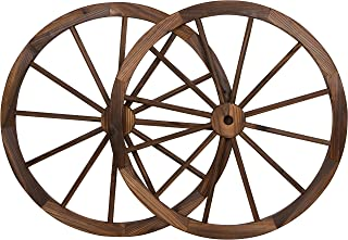 Trademark Innovations Decorative Vintage Wood Garden Wagon Wheel with Steel Rim-31.5