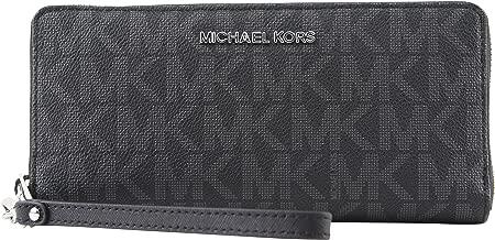 Michael Kors Monogram Jet Set Continental Zip Around Travel Wallet Black PVC