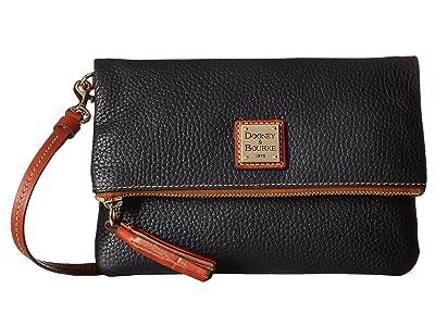 Dooney & Bourke Pebble Fold-Over Zip Crossbody (Black w/ Tan Trim) Cross Body Handbags