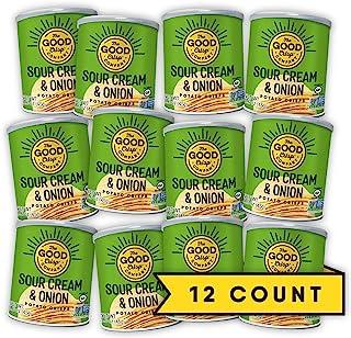 The Good Crisp Company, Sour Cream and Onion Gluten Free Potato Chips (1.6oz, Pack of 12), Non-GMO, Allergen Friendly, Pot...