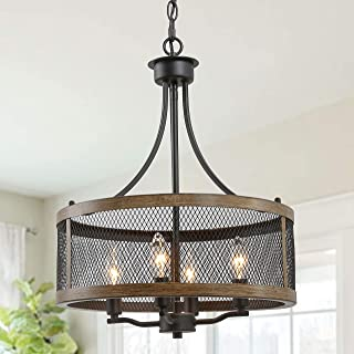 "LALUZ Industrial Drum Chandeliers, Farmhouse Pendant Hanging Light, 4-Light Vintage Lighting Fixture for Dining Room, Oil Black & Wood Finish, 16""Width"