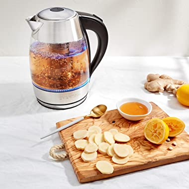 Chefman, Fast W/LED Lights Auto Shutoff & Boil Dry Protection, Cordless Pouring, BPA Free, Removable Tea Infuser, 1.9 Qua
