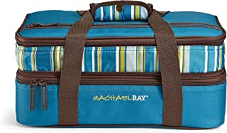 Rachael Ray Expandable Lasagna Lugger, Marine Blue Stripes Casserole Carrier, 13X9