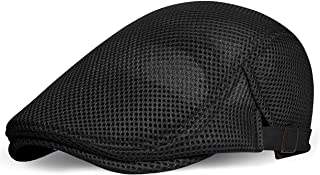 BABEYOND Men's Mesh Flat Cap Breathable Summer Newsboy Hat Beret Cabbie Ivy Hat Gatsby Newsboy Hat for Driving Hunting