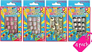 Vivace 4Pack Artificial Preglued Junior Sticker Nails, Color Changing Under Sun Fake Nails 11462 etc (Mixed Nail 3)