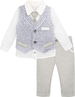 Lilax Baby Boys Gentleman Outfit Long Sleeve Shirt with Vest and Pant 3 Piece Set