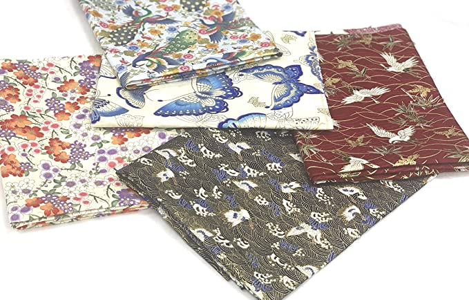 Pink Red Green White Yellow Floral Blossoms Japanese Cotton Fabric 50cm  Handkerchief