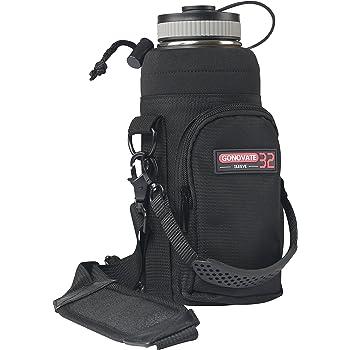 GoNovate 32 oz Sleeve/Pouch (No Bottle) w/Handle for Hydro Flask Bottles - w/Pocket Shoulder Strap - Black