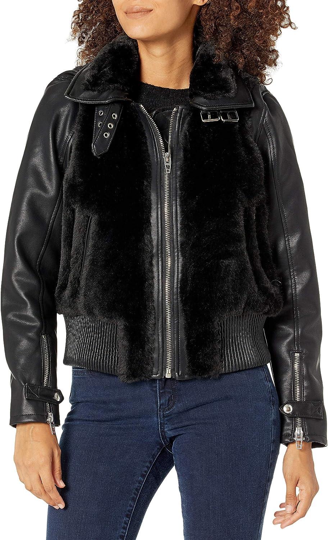 [BLANKNYC] womens Black Faux Fur Jacket With Vegan Leather Sleeves