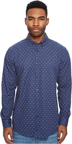 Long Sleeve Two-Tone Floral Print Shirt
