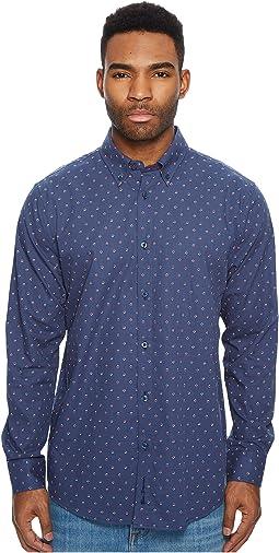 Ben Sherman Long Sleeve Two-Tone Floral Print Shirt