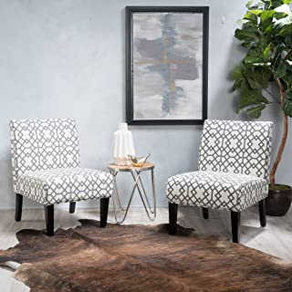 GDF Studio   Kendal   Geometric Patterned Fabric Accent Chair Set of 2   in Grey