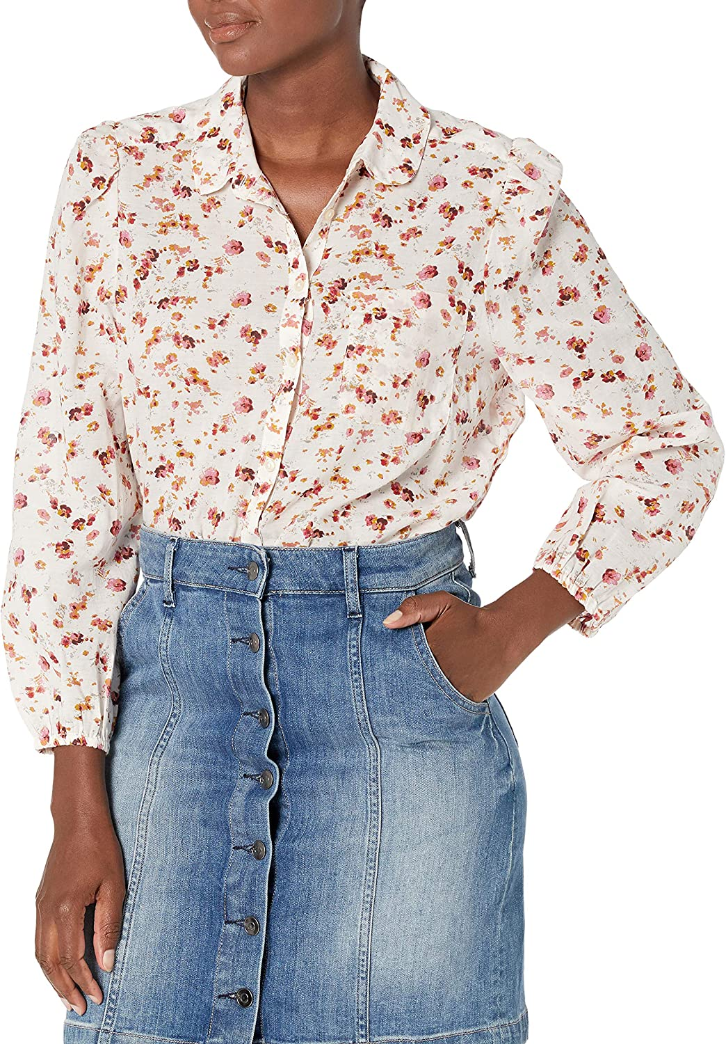 Lucky Brand Women's Long Sleeve Button Up One Pocket Floral Poet Shirt