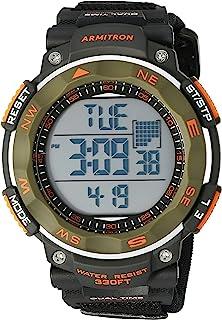 ساعة رياضية للرجال من أرمترون سبورت 40/8377DGN لون أخضر زيتوني مع شريط من النيوبرين الأسود