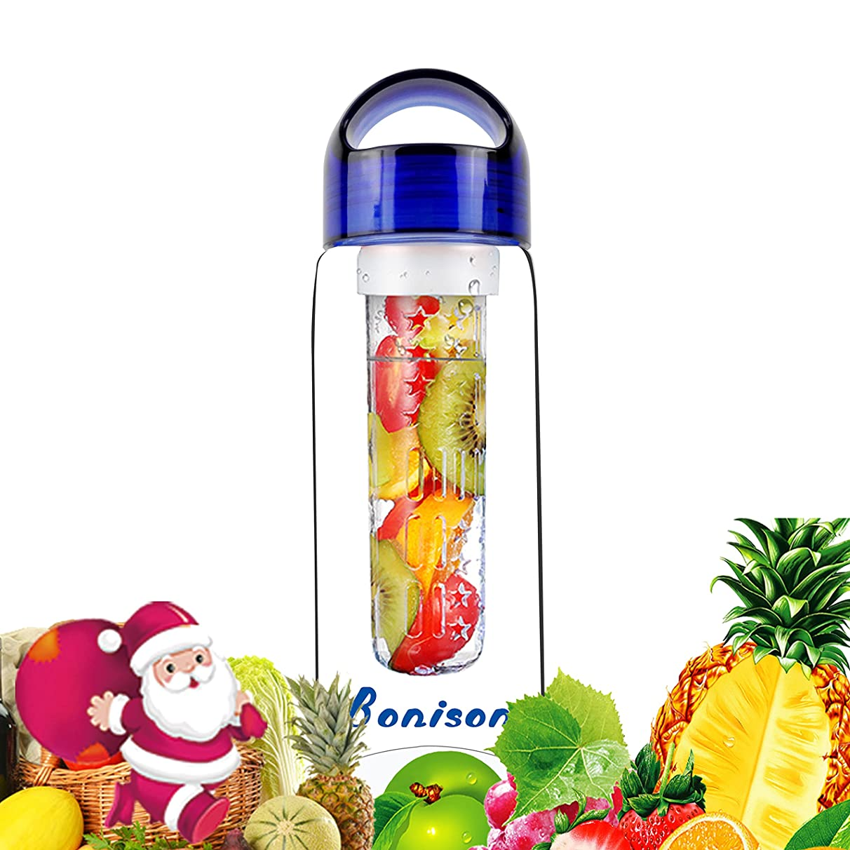Bonison Sporty Tritan Fruit Infuser Water Bottle,Leak Proof,Trendy Durable with Handle for Fruit,Juice, Iced Tea, Lemonade & Sparkling Beverages (23 Oz)