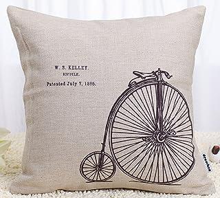 Capa de almofada decorativa de tecido de linho de 45,72 x 45,72 cm Decorbox para almofada, bicicleta de penny-Farthing
