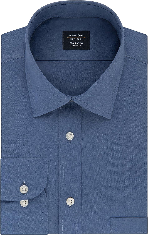 Arrow 1851 Men's Dress Shirt Regular Poplin Stretch Rare Solid Lowest price challenge Fit