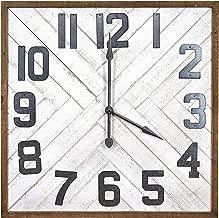 Creative Co-op Square Herringbone Inlay Stained Wood Wall Clock, 36