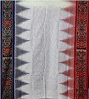 Sambalpuri Handloom Women's Odisha Ikat Cotton Handloom Sambalpuri Cotton Saree (White)