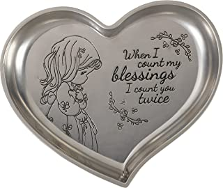Precious Moments 172403 When Icount My Blessings Heart Shaped Zinc Alloy Trinket Tray, Count