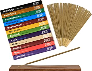Natural Choice Incense 12 Fragrances Incense Gift Box with Incense Burner, White Sage, Palo Santo, Sandalwood, Lavender, Frankincense, Patchouli, Nagchampa, Rose, Dragons Blood, Myrrh, Exotic, Passion