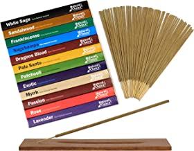 Natural Choice Incense Gift Pack with a Wooden Burner (12 Fragrances) Dragons Blood, White Sage, Palo Santo, Sandalwood, F...