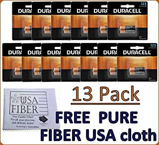 Duracell Dl123 Ultra Lithium Photo, 13 Batteries - Exp 2027+ Free Pure Fiber USA Cleaning Cloth